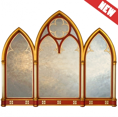 Lancet Triptych Gothic Overmantle