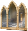 Ornate Arched Triptych Overmantle