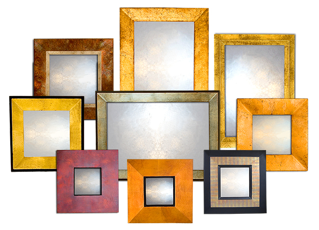 Contemporary Wall Mirrors in tarnished leaf finishes