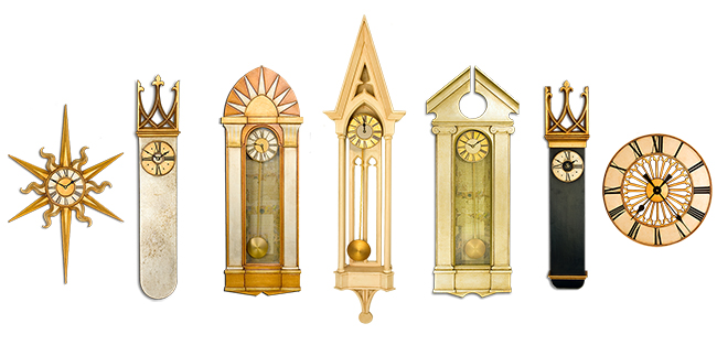 Decorative Wall Clocks in gilded and paint finishes