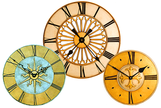 Round decorative Wall Clocks in gilded finishes