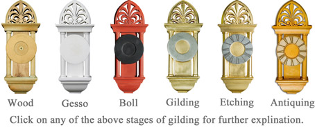 Click on any of the above stages of gilding for further explination.
